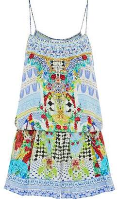Camilla Masking Madness Embellished Printed Silk Playsuit