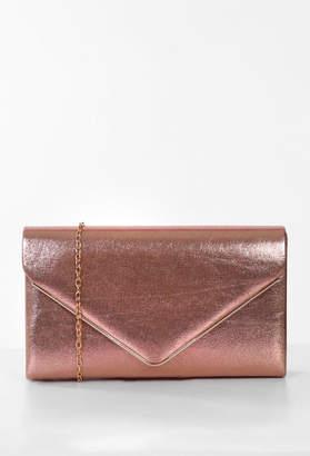 Pink Boutique Hampstead Rose Gold Metallic Clutch Bag
