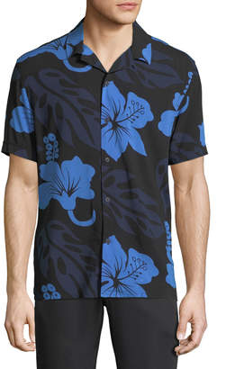 Neiman Marcus Floral-Printed Short-Sleeve Sport Shirt