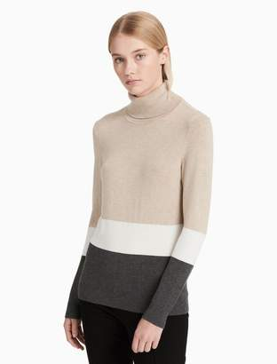 Calvin Klein tri-colorblock turtleneck sweater