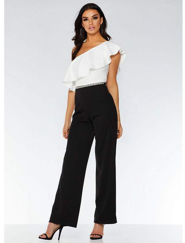 Black And White Asymmetric Jumpsuit