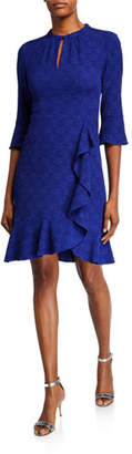 Nanette Lepore Textured Half-Sleeve Flounce Dress