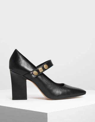 Charles & Keith Vintage Button Detail Mary Janes