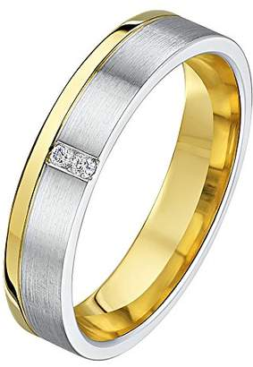 Theia His & Hers 14ct Yellow and White Gold Two-Tone 4mm Grooved Diamond Wedding Ring - Size M