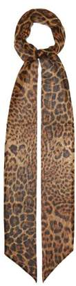 Saint Laurent Leopard Print Silk Scarf - Womens - Brown