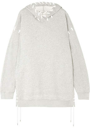 Jonathan Simkhai Oversized Whipstitched Cotton-jersey Hooded Top - Gray