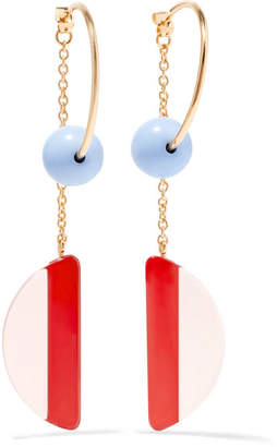 Gold-tone, Resin And Crystal Earrings - Orange Marni