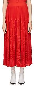 Givenchy Women's Pleated Silk-Blend Crêpe De Chine Midi-Skirt - Red