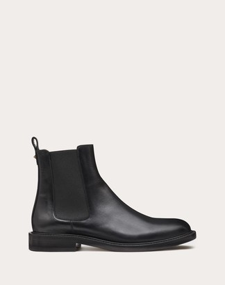 Valentino Garavani Uomo Gloss Calfskin Beatle Boots Man Black 44