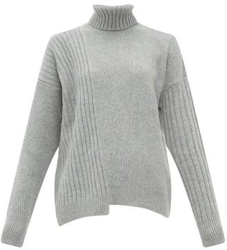 Falke Roll Neck Asymmetric Hem Wool Blend Sweater - Womens - Grey