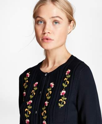 Brooks Brothers Floral-Embroidered Cotton Cardigan
