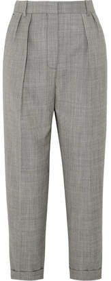 Victoria Beckham Cropped Pleated Wool-twill Slim-leg Pants - Gray