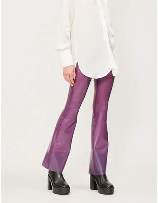 HANGER High-rise latex wide-leg trousers