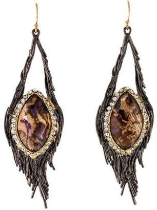 Alexis Bittar Crystal & Abalone Nested Feather Drop Earrings