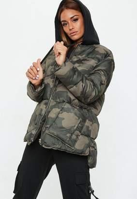 Missguided Khaki Camo Longline Puffer Jacket