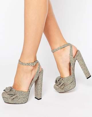 Office Show Leopard Print Bow Platform Heeled Sandals