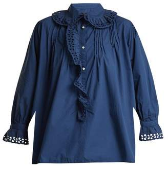 Nili Lotan - Broderie Anglaise Trimmed Cotton Blouse - Womens - Blue