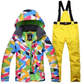 Liyuke Women's Ski Suit Waterproof Hooded Snowsuit Jacket +Pants Two-Piece Set M