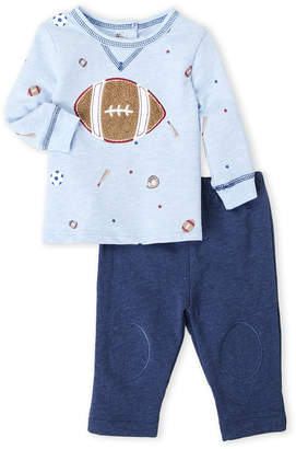 Vitamins Baby Newborn Boys) Two-Piece Football Long Sleeve Tee & Pants Set
