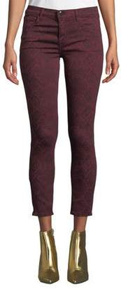 J Brand 835 Mid-Rise Cropped Snake-Print Skinny Jeans