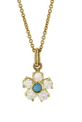 Jennifer Meyer Large Diamond and Turquoise Flower Necklace - Yellow Gold