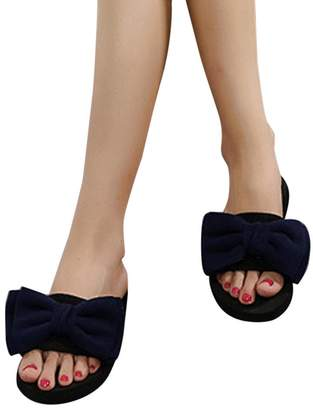 4b4bd3bb32b23 Emerayo Women s Slippers Women s Summer Cute Sandals Indoor and Outdoor  Bowknot Flip-Flops Beach Slippers
