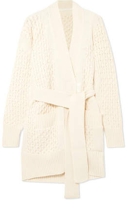 Sacai Belted Cable-knit Cotton-blend Cardigan