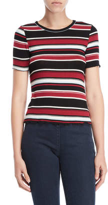 Almost Famous Striped Lettuce Edge Tee
