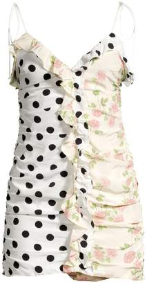 For Love & Lemons Mochi Shirred Polka Dot & Floral Mini Dress