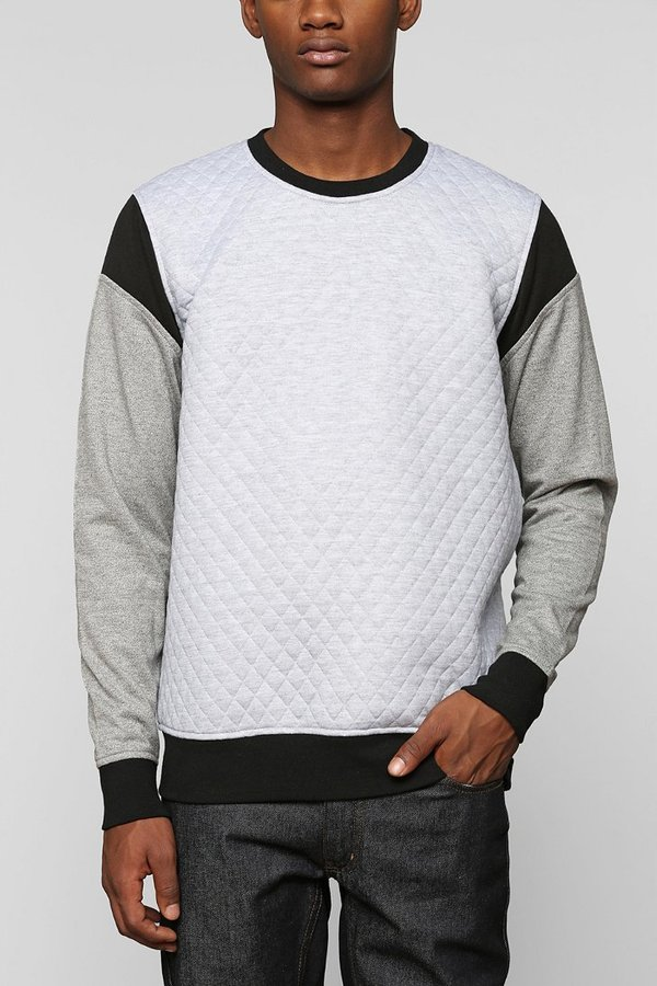 Urban Outfitters The Narrows Quilted Inset Sleeve Pullover Sweatshirt