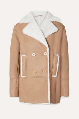 REMAIN Birger Christensen - Ray Double-breasted Shearling Jacket - Camel