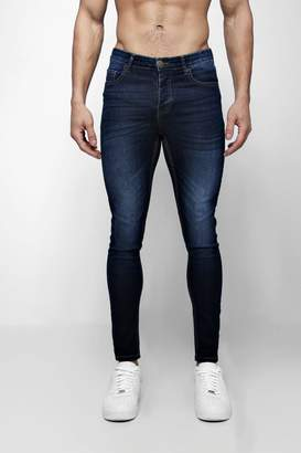 boohoo Spray On Skinny Jeans In Navy Wash