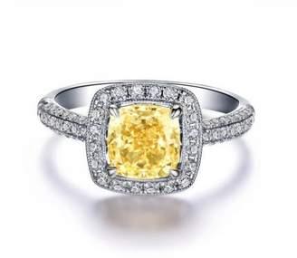 Ring 18k White Gold Gp Austria Crystal Citrine Lady Valentine's Day Jewelry Gift R42