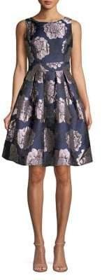 Eliza J Pleated Metallic Floral Flare Dress