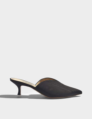 ATTICO Cara Mid Height Mule Shoes in Black Silk Leather