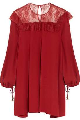Philosophy di Lorenzo Serafini Lace-Paneled Crepe Mini Dress