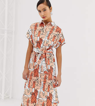 Monki abstract face tie waist midi shirt dress in camo pink