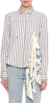 Off-White Long-Sleeve Button-Down Striped Shirt with Foulard Scarf Inset