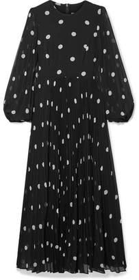 Zimmermann Sunray Pleated Polka-dot Georgette Maxi Dress - Black