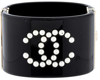 Chanel CC Pearl Hinged Cuff $795 thestylecure.com