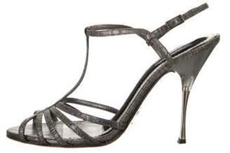 Dolce & Gabbana Suede T-Strap Sandals Grey Suede T-Strap Sandals