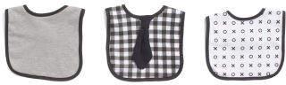 3pk Baby Boys Plaid Tie Bibs