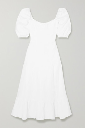 Reformation Belgium Shirred Linen Midi Dress