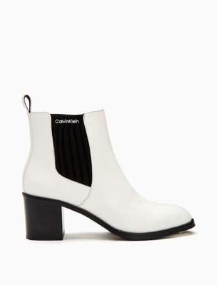 Calvin Klein perron leather ribbed knit boot