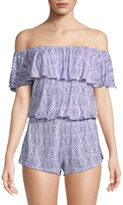 Eberjey Timba 2-Piece Off-The-Shoulder Pajama Set