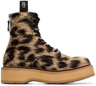 R 13 brown Single Stack 40 leopard print wool boots