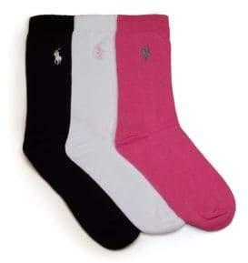 Ralph Lauren Girl's Three-Piece Cotton Crew Socks Set