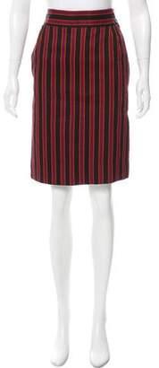 Saint Laurent Striped Knee-Length Skirt