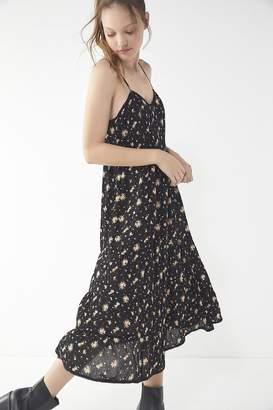 Urban Outfitters Floral Tiered Ladder Stitch Trim Midi Dress