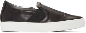 Lanvin Black Leather Slip-On Sneakers $545 thestylecure.com